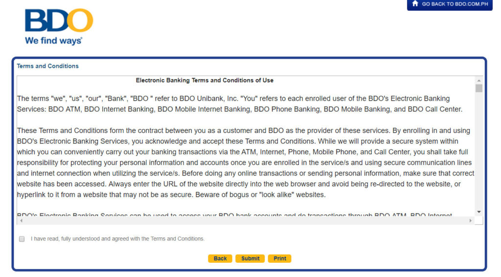 Steps to Enroll in BDO Online Banking